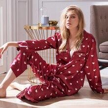 Xifenni Pajamas Sexy Faux Silk Sleepwear Female Fashion Heart Printed Satin Long-Sleeved Red Womans Pyjama Sets 2404