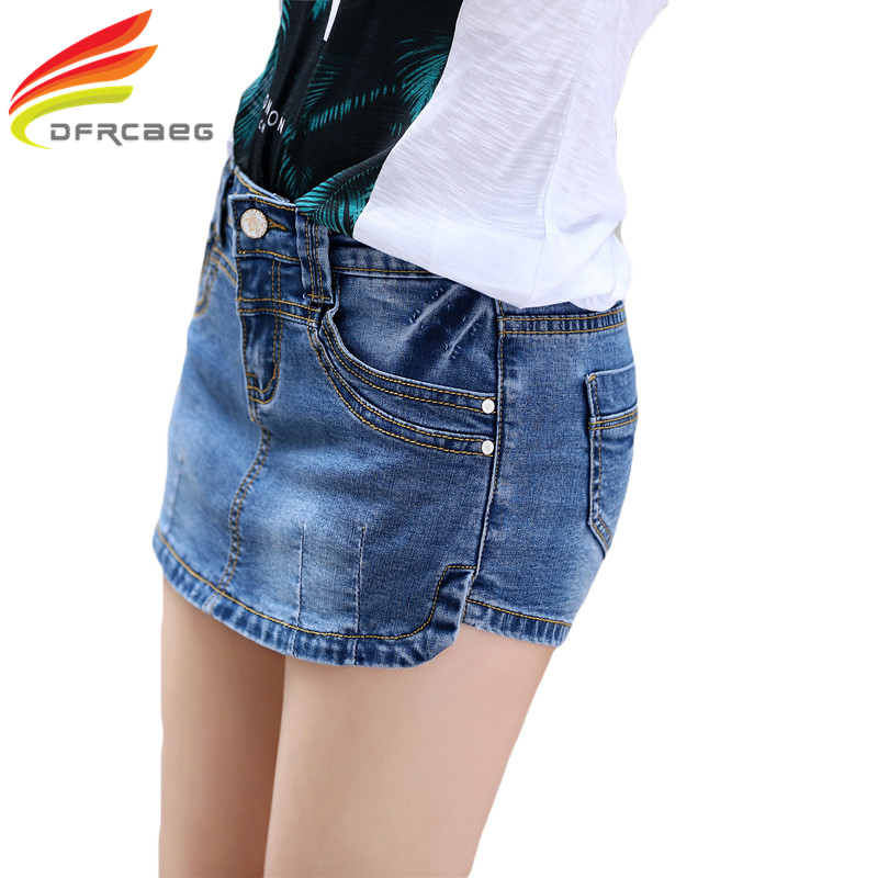 Summer 2018 Denim Skirt   Shorts   Female Fashion High Waist Stretch All-match Women   Shorts   Skirt Plus Size Blue Jeans   Shorts