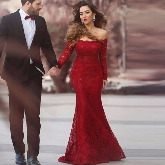 435bd493302c3 Burgundy Long Elegant Evening Dress With Long Sleeve Off Shoulder Full Lace  Mermaid Prom Dress Cheap Vintage Formal Gowns