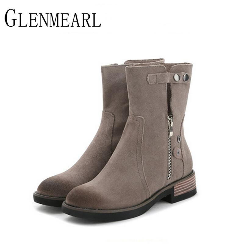 2018 Autumn Winter Fashion Genuine Leather Women Boots Brand Round Retro Boots Shoes Flat Platform Black Grey Female Boots XP25 2018 autumn