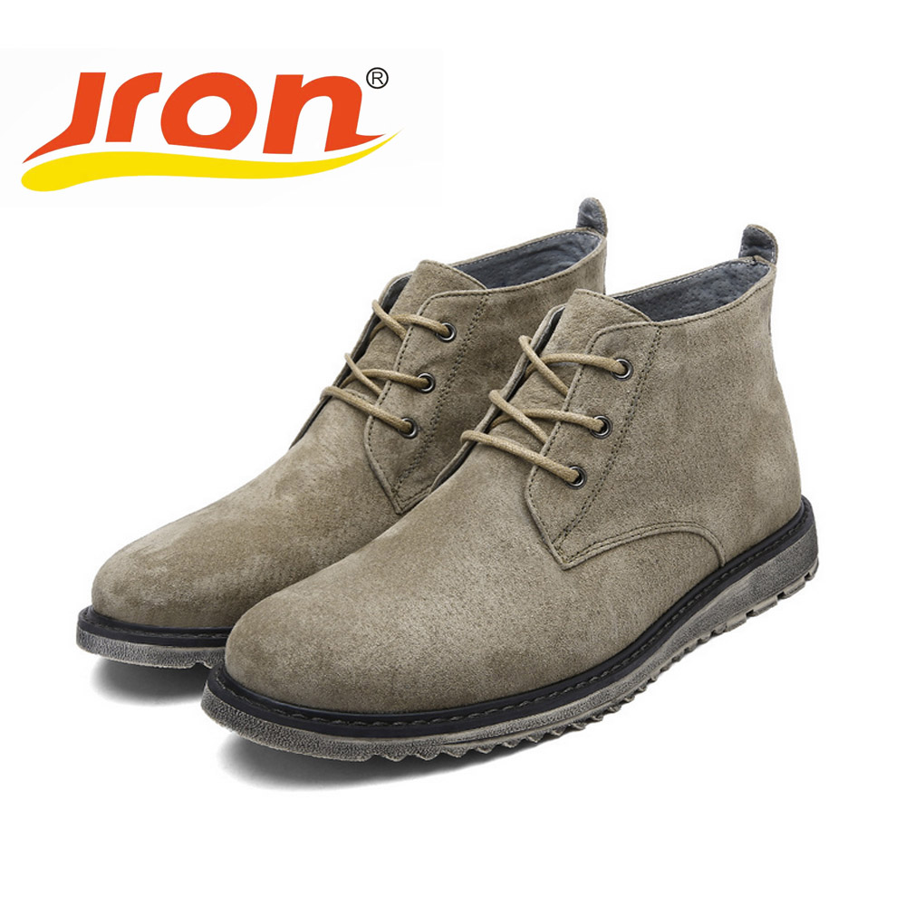 Jron British Style Men Boots Genuine Leather Martin Men Autumn Boots Water Proof Work Hiking Winter Ankle Shoes Three Colors