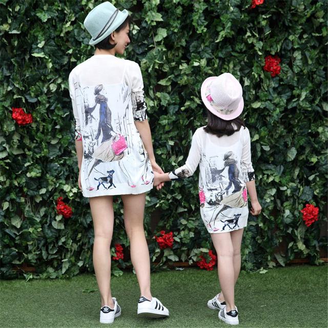 Mãe e filha roupas protetor solar protetor solar protetor solar casaco cardigan menina casual clothing matching roupas filha da mãe