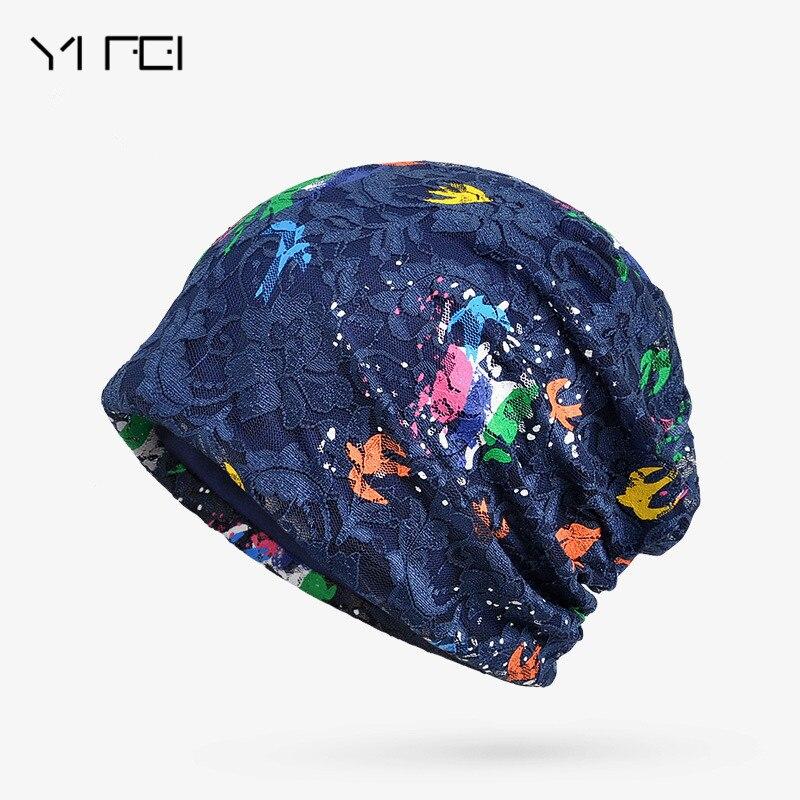 YIFEI Women Skullies Beanie Hat Female Autumn Lace Hat Cap Famale Butterfly Hat Ladies Cotton Casual Flower Bonnet Femme skullies