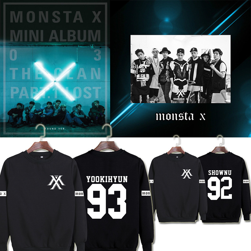Sweater Men Round-Neck Casual KPOP with The Same-Paragraph And Women I.M Monsta-X-New