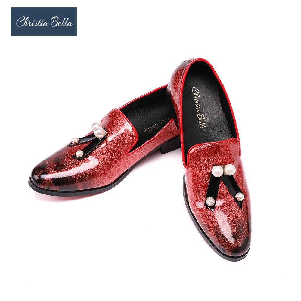 Christia Bella Glossy Pattern Leather Men Loafers with Pearl Bow Fashion Business Style wedding and Party Dress Shoes Men Flats цены онлайн