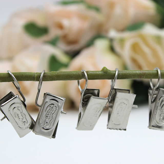 New Sale 20pcs Stainless Steel Curtain Tieback Window Shower Curtain Rod Clips  Rings Drapery Clips Curtain