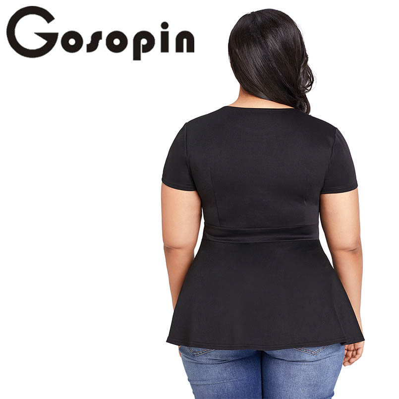 bdc57ba30e Aliexpress.com   Buy Gosopin Black Summer T Shirt Women Plus Size Short  Sleeve Club Party Shirts Sexy O Neck Blusa Tops Caged Top Hollow Out  LC250752 from ...