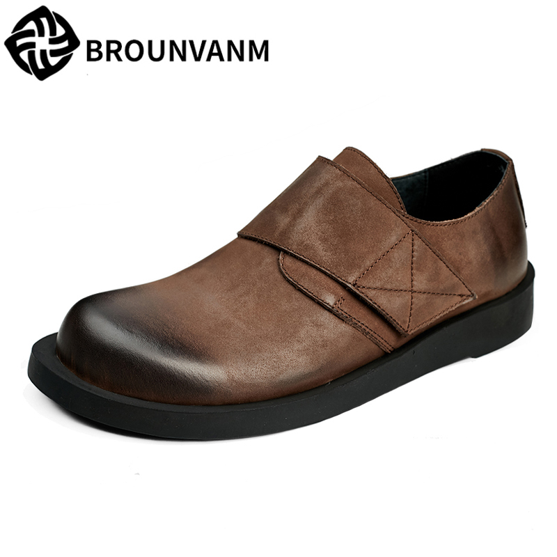 spring and autumn male bottom pedal lazy shoes men British retro men's Genuine Leather shoes all-match cowhide casual Leisure new 2017 men s genuine leather casual shoes korean fashion style breathable male shoes men spring autumn slip on low top loafers