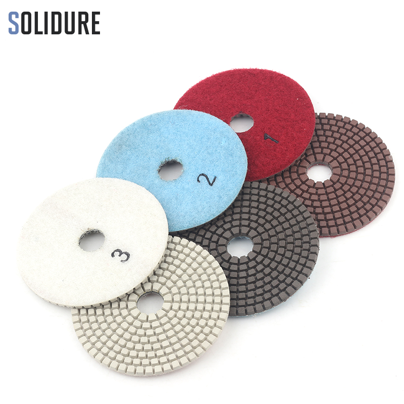 100mm 4 Inch Copper Bond Diamond 3 Step Polishing Pads Premium Diamond Granite Polishing Tool Marble Concrete Grinding