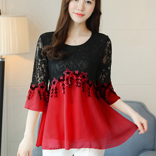 Red Lace Blouse shirt mesh stitching lace chiffon blouse elegant female casual lace tops fashion women clothing lace shirt 890H