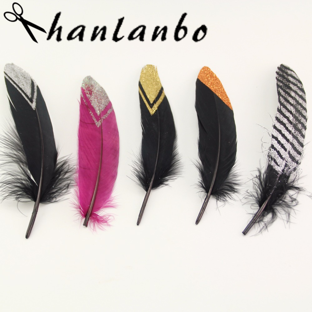 Hot Sale NEW 10pcs Multicolor Pattern Goose feathers Decoration Plume DIY Plumes Jewelry Craft gold Bling feathers