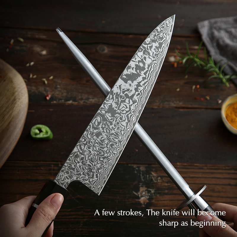 XINZUO Professional Knife Sharpener Rod Kitchen Accessories High Carbon Stainless Steel Sharpener Stick Home Use Knife