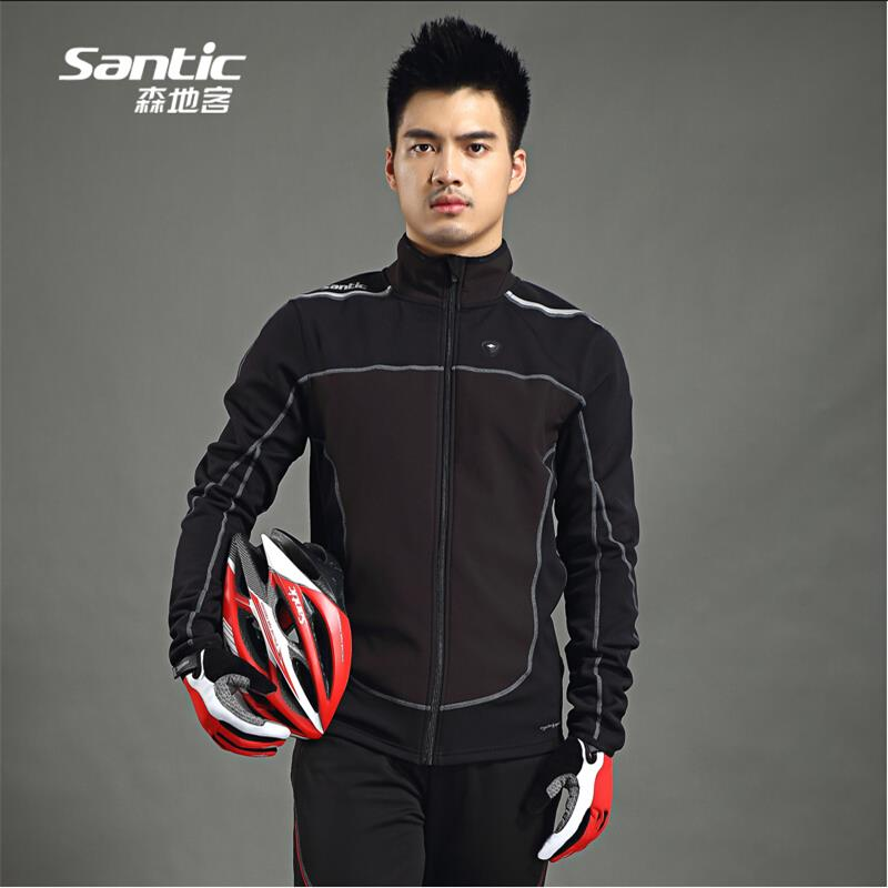 Men Santic Thermal Cycling Jacket Winter Fleece Bicycle Windproof Warm Cold Antistatic Sports Coat MTB Bike Jersey veobike winter windproof thermal fleece reflective bike bicycle jersey warm cycling wind coat jackets pants set for men women