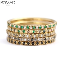 ROMAD Crystal Zircon Stone Rings For Women Thin Dainty Gem Ring Wedding Jewelry Party Rhinestone bague Girl gift R5