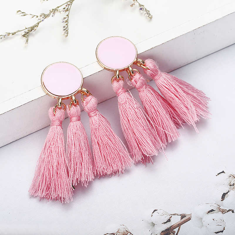 2018 Brincos Bohemian Statement Tassel Earrings Round Drop Earrings for Women Wedding Long Fringed Earrings  Jewelry Gift E0343
