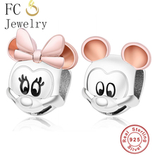 Real 925 Sterling Silver Beads Charm Rose Gold Ear Mickey Minnie Portrait Beads Fit Original Pandora Charms Bracelet Diy Jewelry geoki 925 sterling silver rose gold white cubic zirconia clover silicone safety chain fit original pandora bracelet leaf charm