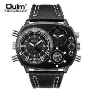 Image 5 - Oulm Rahat gerçek deri kayışlı saatler Erkekler Lüks Iki Zaman Dilimi Kuvars Saat Büyük Arama Erkek Spor Kol Saati