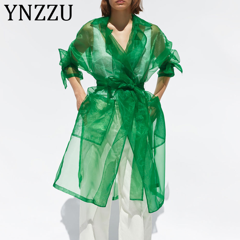 YNZZU Chic Organza Green Women Trench Coat 2019 Autumn Long Style Transparent Ladies Trench Summer Sunscreen Outwears AO982(China)