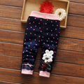 2016 girls autumn and winter leggings girl cartoon lace rabbit plus cashmere trousers leggings