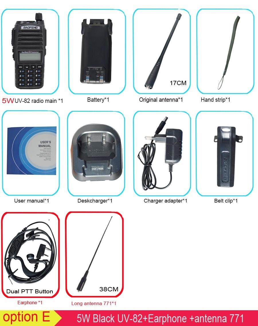 Популярная портативная рация, Baofeng, UV-82, две кнопки PTT, двухстороннее радио Vhf Uhf, двухдиапазонное Baofeng UV 82 UV82, двухстороннее радио - Цвет: 5W with 771 antenna