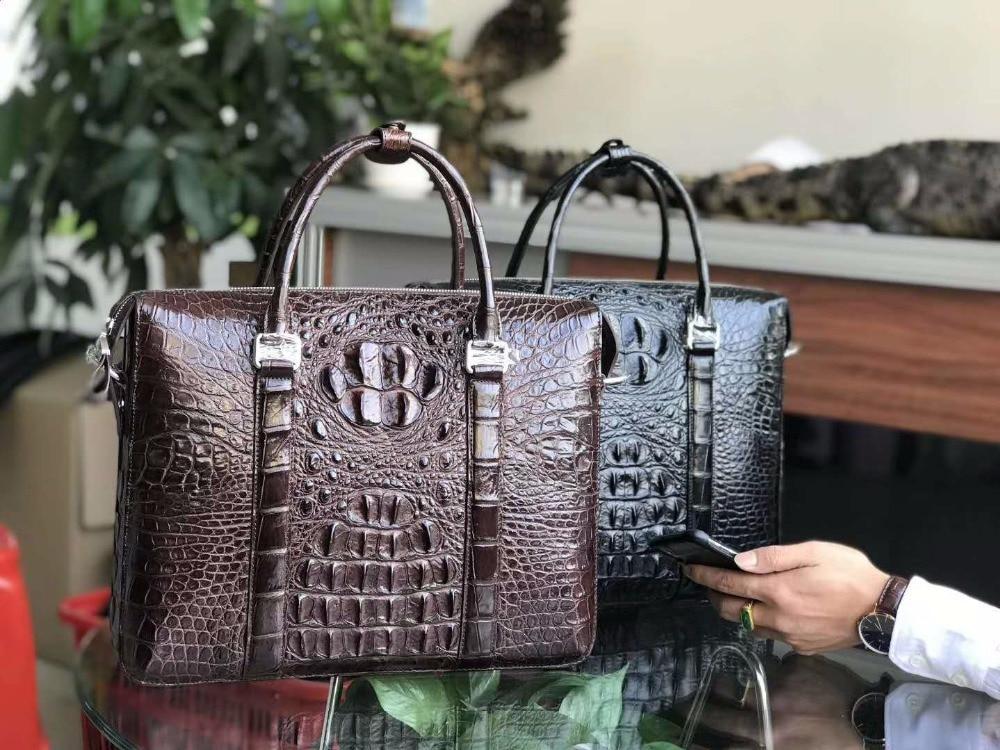 Luxury 100% Genuine Real Crocodile Leather Head Skin Men Business Bag Young Men Laptop Bag Brefcase Free Ship Brown Black Color