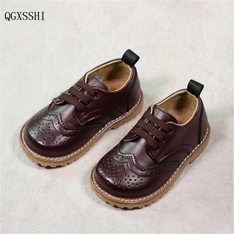 QGXSSHI High Quality Genuine Leather shoes fashion children martin boots baby shoes leather boys kids wedding dinner low shoes