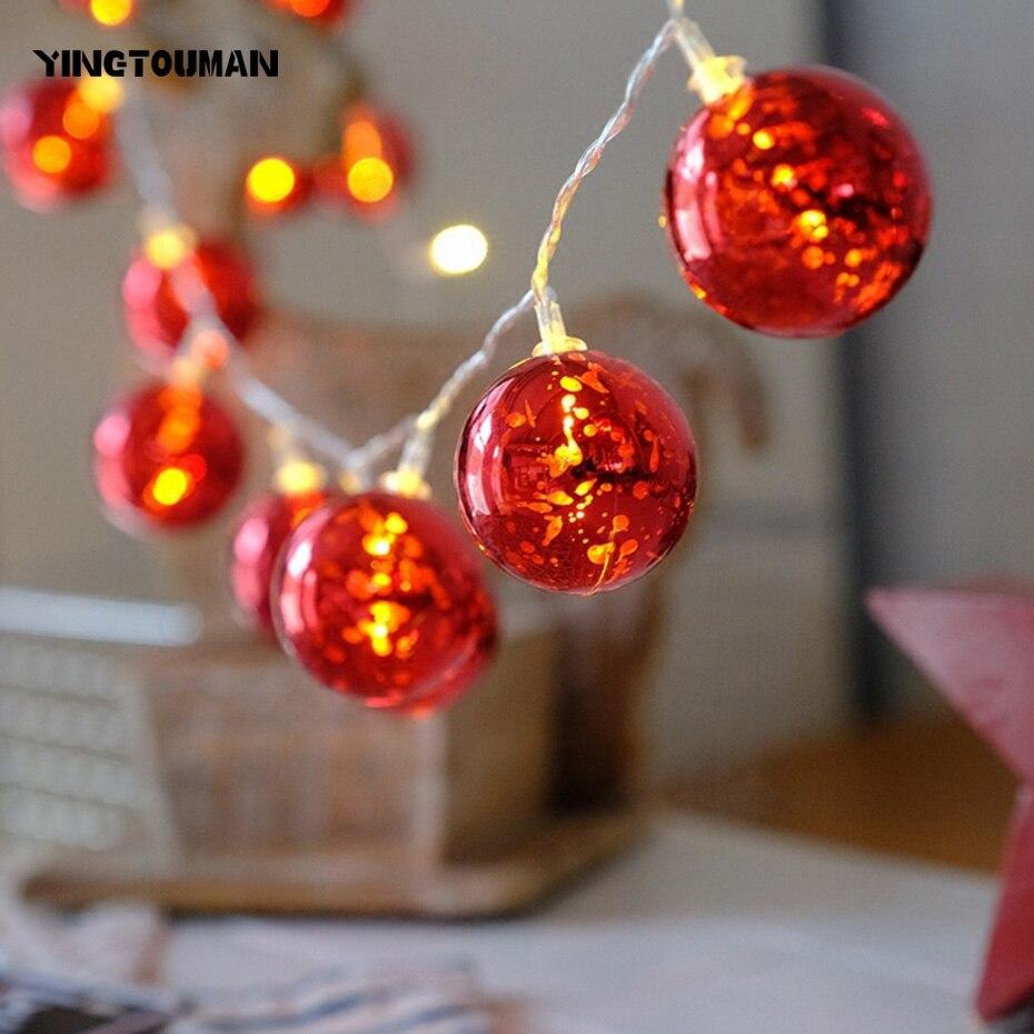 YINGTOUMAN 10pcs/lot 2018 Red Ball Battery 10LED 1.5M String Light Christmas Holiday Wedding Party Decoration Lighting LED Lamp