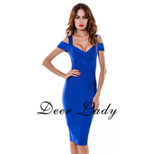 New Arrivals 2016 Bodycon Bandage Dress Blue Women Sexy Deep V Neck Dresses Knee-Length Wholesale HL