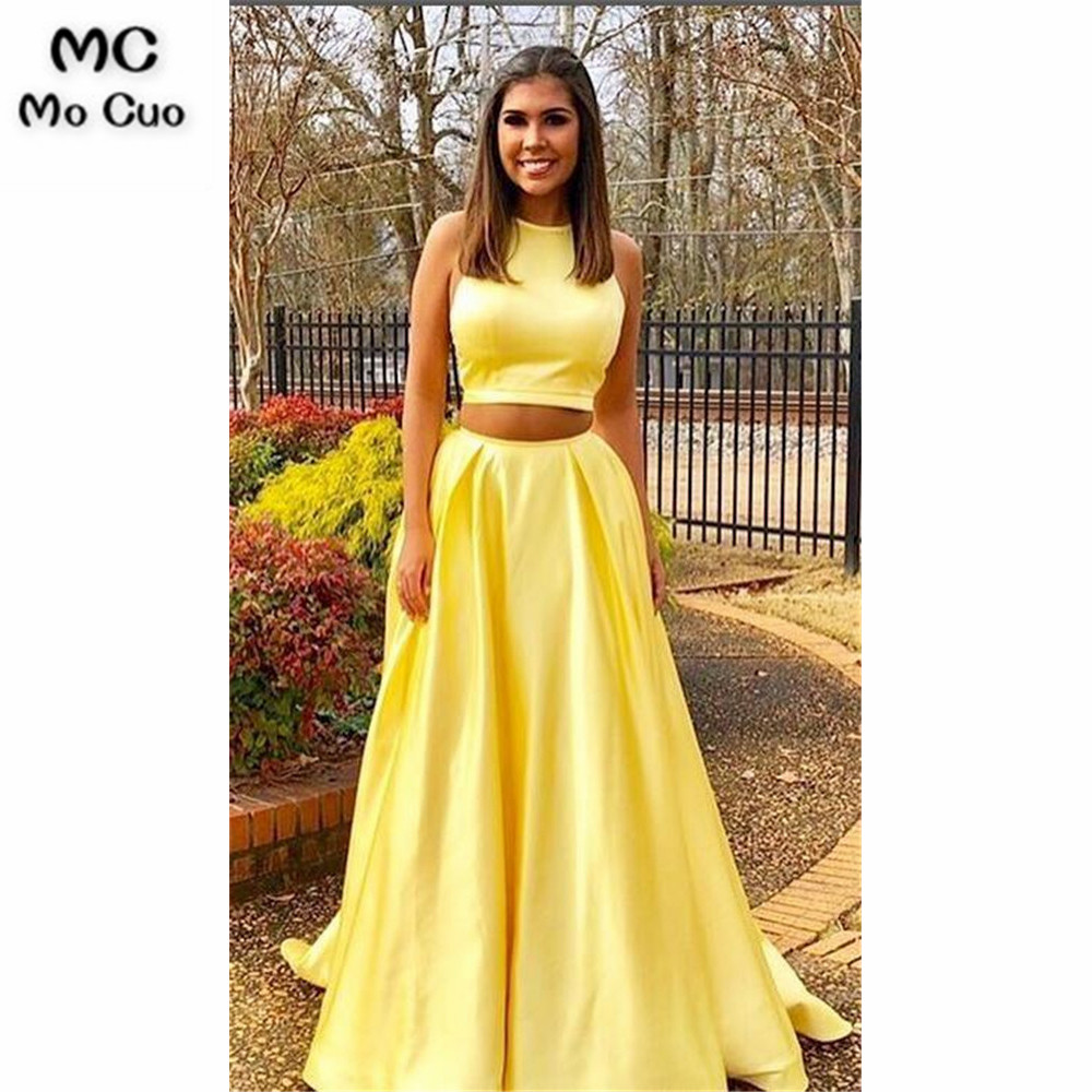 Yellow Two Pieces Gown   Evening     Dresses   Long Prom Gown Pockets O-Neck Satin Formal   Evening   Party   Dress   for Women Custom Made