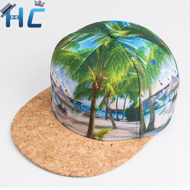 2016 Brand 3D Color Tree Printing  pattern Men Women Sports Hats Baseball Cap Hip Hop Snapback Caps Flat Brim Cap