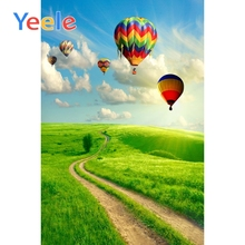 Yeele Hot Air Balloons Vinyl Customized Backdrops Cloudy Sky Wedding Grassland Scenic Photography Backgrounds  For Photo Studio