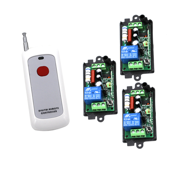 220V 1CH Radio remote control switch light lamp LED ON OFF 3 Receiver & 1 transmitter Learning Code built in remote on off control and remote sense function scn 800 12 220v 12v transformer led