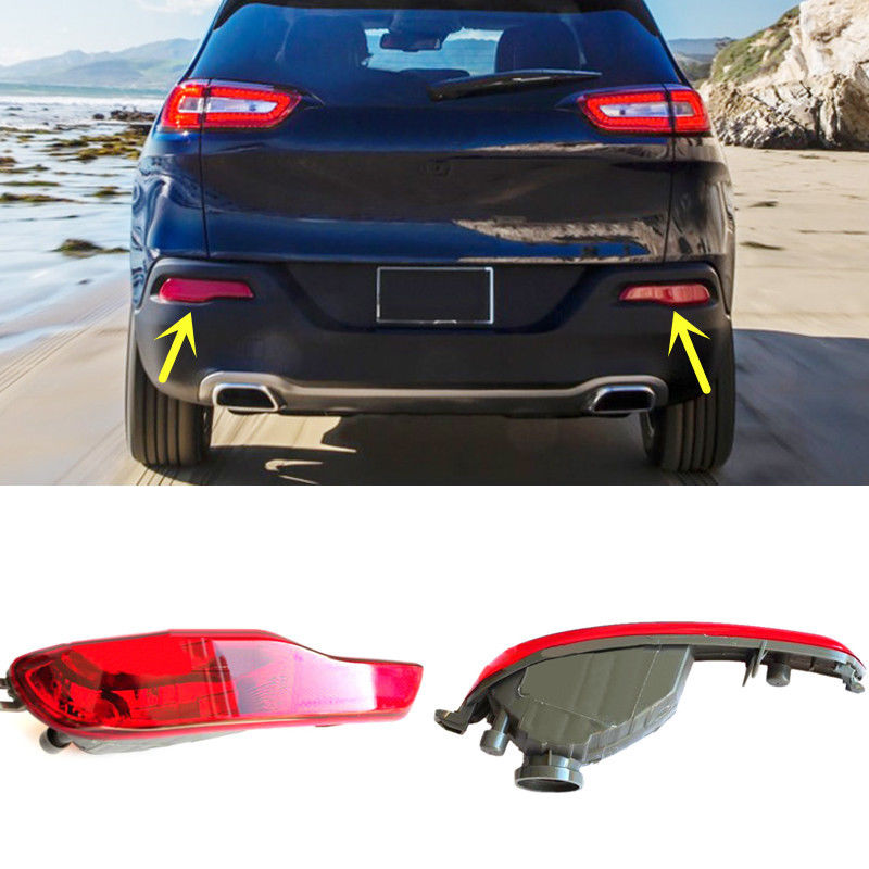 For Jeep Cherokee 2014-2016 Red Lens Rear Bumper Reflector Rear Fog Brake Light