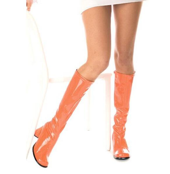 Big Sale Black Red Shinny Patent Leather Round Toe Side Zipper Knee High Boots For Women Candy Color Chunkly Heel Women Shoes in Knee High Boots from Shoes
