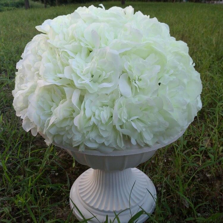 de elegent blanco ramo de flores de seda rosa bola de la flor para la