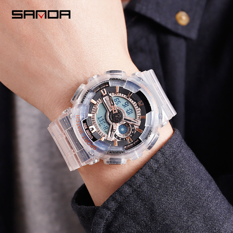 SANDA Soft Silicone Transparent Quartz Watch Fashion Waterproof Women Casual Watches Week Luminous Alarm Calendar for Summer in Women 39 s Watches from Watches