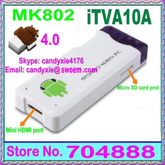 Free shipping Android TV Box iTVA10A Google TV box Media player smart IP TV Allwinner A10S+DDR3  1GB/4GB MK802