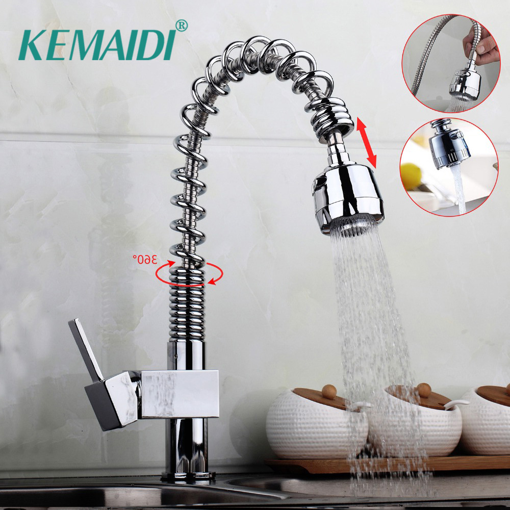KEMAIDI Kitchen Sink Faucet Pull Out Spray Swivel Spout Nickel Brushed&Chrome Brass Finish Deck Mounted Tap Hot & Cold MixerKEMAIDI Kitchen Sink Faucet Pull Out Spray Swivel Spout Nickel Brushed&Chrome Brass Finish Deck Mounted Tap Hot & Cold Mixer