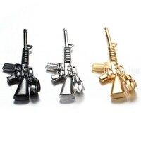 New Brand Silver/Gold/Black 316L Stainless Steel Fashion M4A1 Rifle Gun Biker Pendant Necklace Chain  Men's Gif