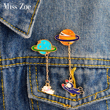 Miss Zoe Cartoon Saturn Planet Astronaut Sailing Rabbit Metal Brooch Pins Chain Button Pin Denim Jacket Pin Badge Gift Jewelry(China)