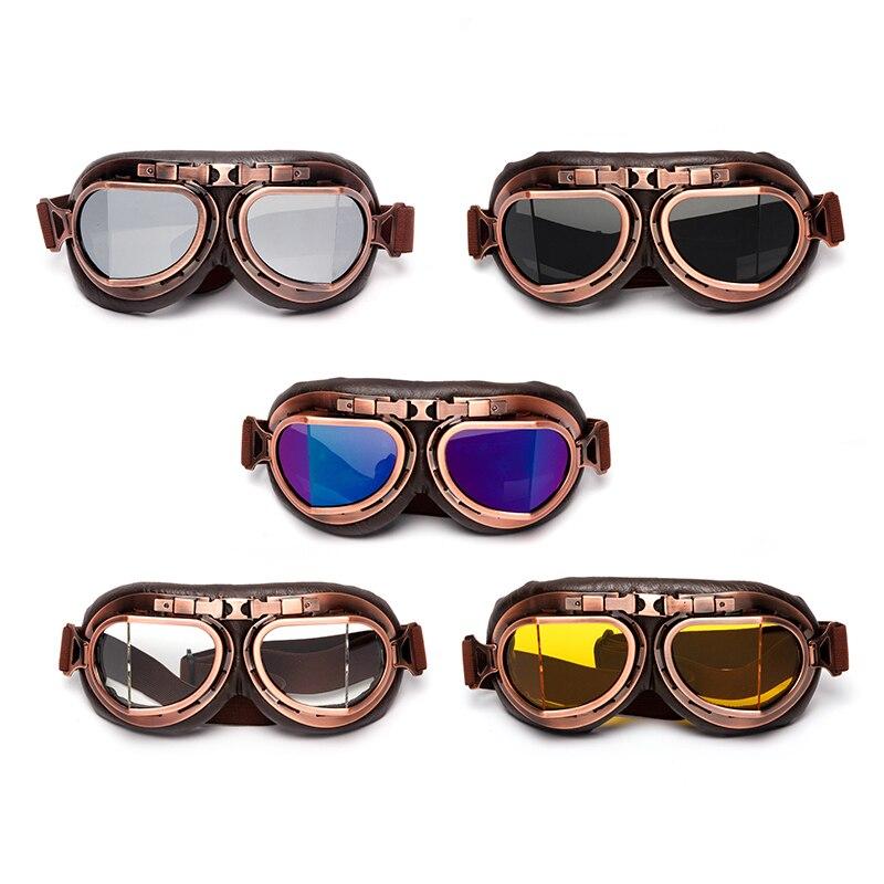 Triclick Motorcycle Goggles Classic Glasses Vintage Classic Retro Aviator Pilot Cruiser Steampunk ATV Bike UV Protection Copper