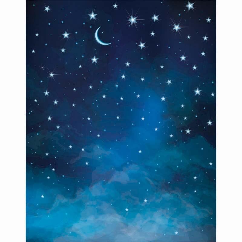 Night Sky Moon Stars photo backdrop High-grade Vinyl cloth Computer printed newborns photo studio background зенитный прожектор night sun sf011 sky rose купить