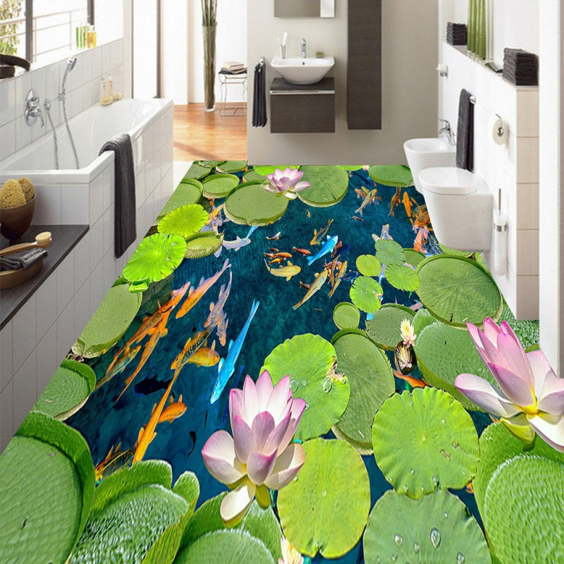 Free Shipping 3D Stereo Fish flooring background wall waterproof non-slip bedroom kitchen bathroom living room flooring mural  free shipping basketball function restaurant background wall waterproof high quality stereo bedroom living room mural wallpaper