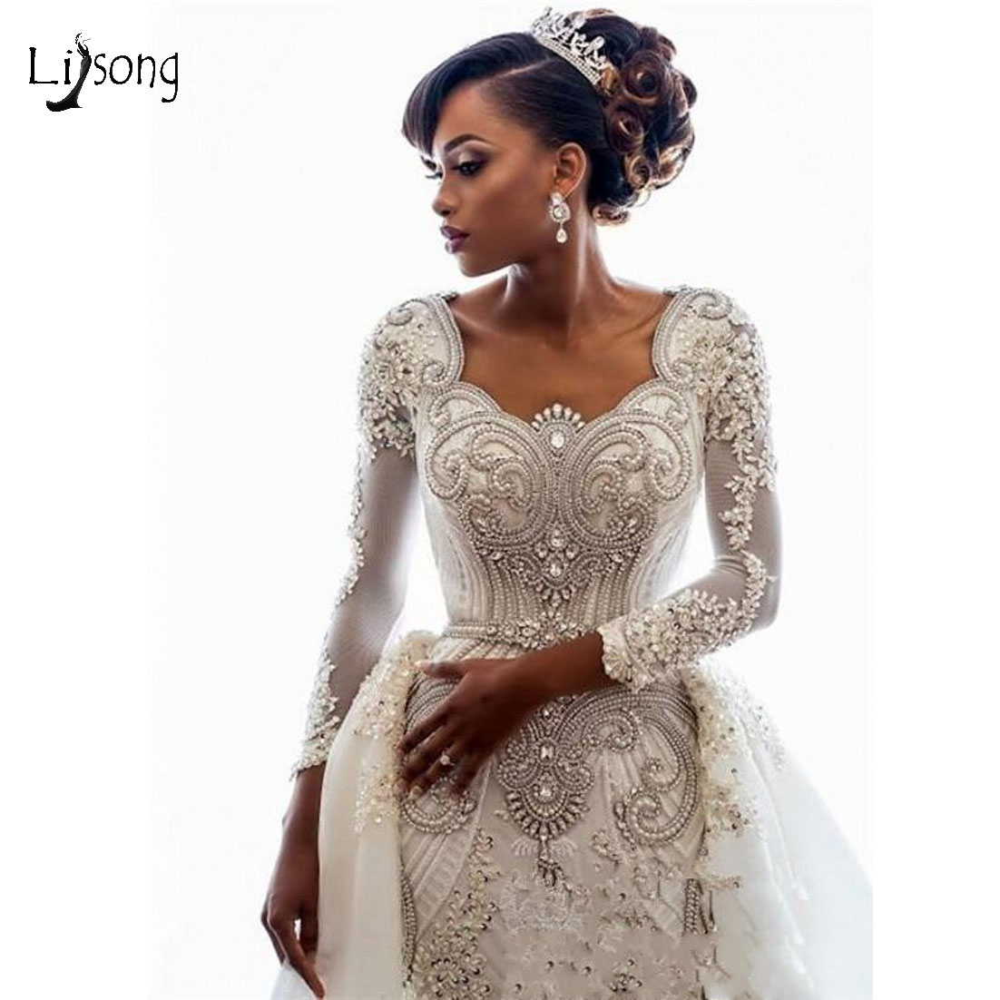 Luxury Gonna Shiny Crystal Wedding Dresses 2019 Full Sleeves Beaded Lace Bridal Gowns Detachable Train Robe De Mariee