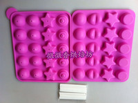 Fondant Silicon Mold Tools Baking tools silicone gel cake mould 20 lollygags chocolate lollipop mould 4 shape