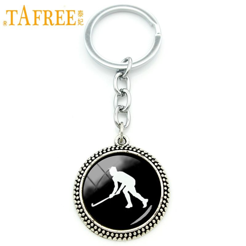 TAFREE Cool ventilatoare mingea cadou câmp hochei sport keychain sticlă cabochon placat argint bijuterii hochei atlet bărbați cheie lanț KC381