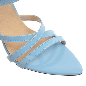 Image 3 - Summer Sandals Women Hot Solid Ankle Strap Gladiator Sandals Ladies High Heels Footwear Yellow Blue Party Wedding Shoes Big Size