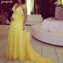 YNQNFS ED190 Elegant Empire Mother Maternity Dresses Pregnancy Evening Party Gown V Neck Cap Sleeves 2019