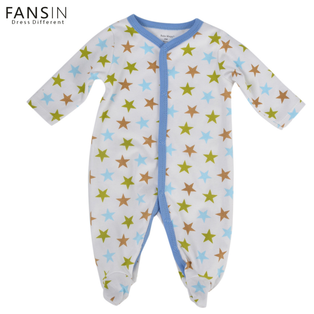 FANSIN Brand Newborn Romper Infant Toddler Star Printing Baby Clothing Long Sleeve Jumpsuit Cotton Outfits For Boy Girl Clothes newborn infant baby girl cotton clothes romper long sleeve plaid zipper cute jumpsuit rompers clothing outfits
