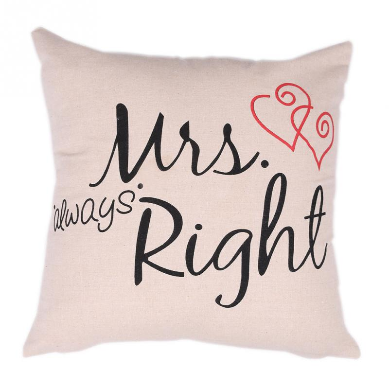 Mr And Mrs Always Right Printed Pillow Case Wedding Gift Pillow